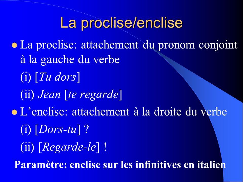 La proclise/enclise La proclise: attachement du pronom conjoint à la gauche du verbe. (i) [Tu dors]